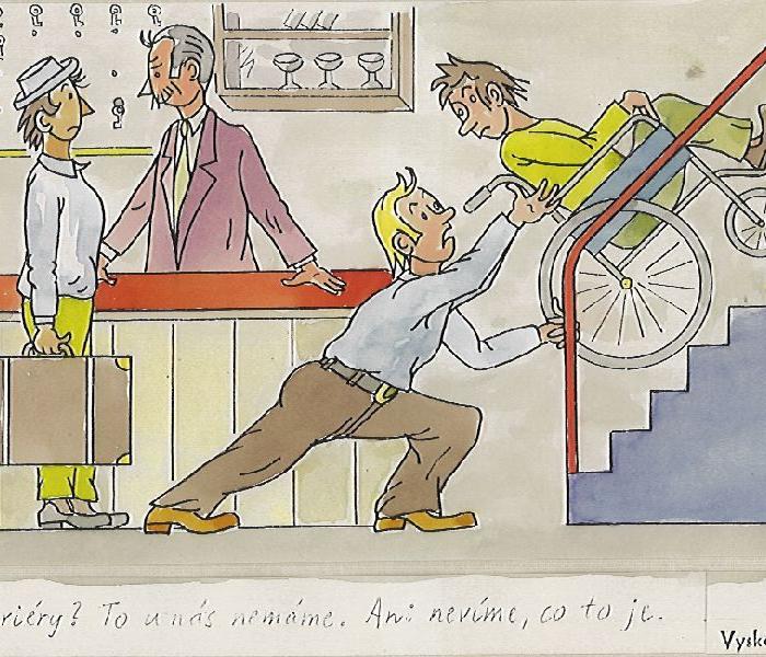 tlačení vozíčkáře do schodů